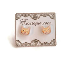New Orange Tabby Cat Kitten Plastic Post Earrings Hypoallergenic Kawaii