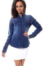 Womens Denim Shirt Oversized Long Sleeve Jean Blouse Ex New Look Button Top 8-16