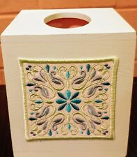 Wooden Boutique Tissue Box Cover with Felt Square Floral Embroidery pattern