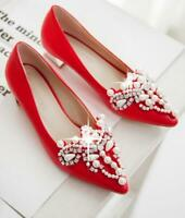 Women's Spring Fashion Rhinestone Pointed Toe Pearl Wedding Shoes Patent Leather