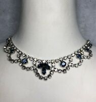 1950 Style Bib Necklace Blue Clear Glass Cabochons Hook Clasp Victorian Revival
