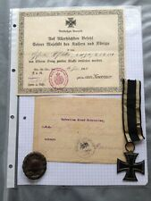 MEDAL WW1 GERMAN GROUP OF 2 AWARDS AND CERTIFICATES - GEFREITEN JOSEF HOFSTETTER