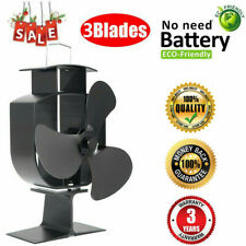 3 Blade Wood Stove Fan Heat Fireplace Thermally Controlled Warm Air Circulator