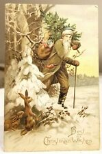 Green-brown, Moss colored Suited Santa Claus, in Woods. Rabbits Watching. PC