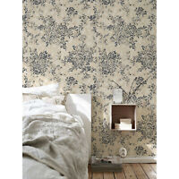 Old style floral Removable wallpaper black and beige Home Decor
