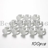 100pcs Disposable Eyelash Extension Adhesive Holders Rings Beauty Tools
