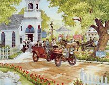 16 X 20 INCH ART PRINT POSTER  RED CAR AT CHURCH
