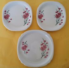 3 RARE WALKER CHINA RED BLOSSOMS PLATES ?  FRED HARVEY HOUSE  RAILROAD WARE