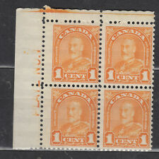 1930-1931 #162 1¢ KING GEORGE V ARCH/LEAF ISSUE UPPER LEFT PLATE BLOCK #1 F-VFNH