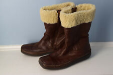 Hush Puppies Brown Moccasin Leather Sherpa Boots Women 6.5
