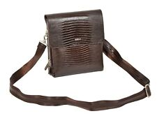 Real Brown Leather Messenger Bag ipad Tablet Snake Print Shoulder Organiser Bag