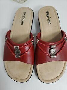 Minnetonka Silverthone woman Red Leather  Slide Sandal 8WW