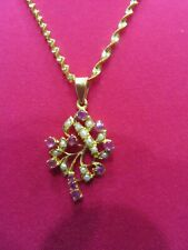 """22K Gold Chain & PEARL, RUBY,  Pendent   10.4gr   20"""""""