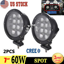 2X 7INCH 60W CREE LED ROUND SPOT WORK DRIVING LIGHT OFFROAD 4WD TRUCK Boat LAMP