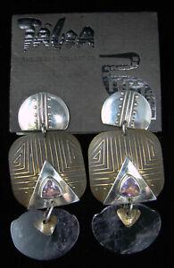 OOAK Tabra Sterling Silver 925 14k Gold Brass Amethyst Lotus Dangling Earrings
