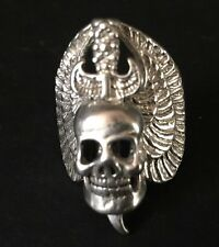 UNIQUELY HANDCRAFTED 975 STERLING SILVER SKULL RING ROCK BIKER PUNK GOTH