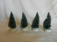 """Set of 4 Holiday Pine Trees With Snow Flocking for Christmas Village 4"""" Tall"""