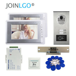 Apartment  Video Door Phone Intercom System RFID Camera for 2 Family Strike Lock