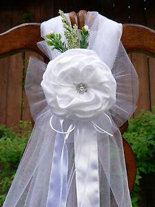 Wedding decorations, White Chair Bows, Pew Bows, Satin, Church Aisle Decor.