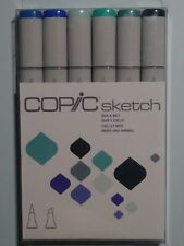 Copic Sketch Markers Dual Tipped Set of 6- Sea and Sky NEW Free Shipping