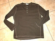 "Men's""CALVIN KLEIN""Brown Long Sleeve Cotton/Spandex  Long Sleeve Shirt size L."
