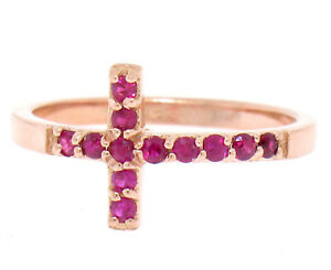 NEW Solid 14k Rose Gold 0.25ctw Round Cut Blood Red Ruby Curved Cross Band Ring