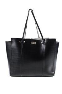 Kate Spade New York Womens Leather Tote Handbag Black Gold Tone
