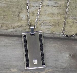 Men's Triton Stainless Steel Diamond Accent Dog Tag Pendant Necklace MSRP $350