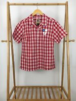 Tori Richard Women's Red Plaid Honolulu Button Front Short Sleeve Shirt Size M