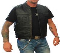 Mens Motorcycle Leather Vest.Biker Club Leather Vest Size 4XL