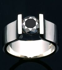 Round 925 Sterling Silver Ring Size 7 2.52 Ct Aaa Black Color Moissanite Diamond