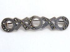 Marcasite Sterling Silver Hugs Kisses Bar Pin Brooch Love Tic Tac Toe 925 Vtg