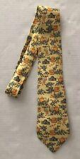 Hermes Vintage Neck Tie Authentic France 100% Silk Yellow