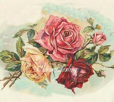 FABRIC QUILT BLOCK*VINTAGE PERFUME LABEL ROSES*SPECTACULAR*LOOK