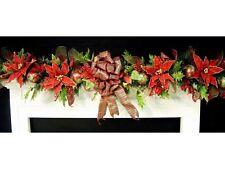 Tartan Poinsettia Christmas Mantel Garland Swag Custom Traditional red green
