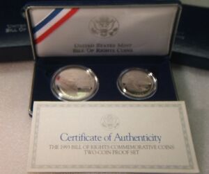 1993 US Mint~~BILL of RIGHTS~~2 COIN SET~~ SILVER DOLLAR PROOF & SILVER HALF