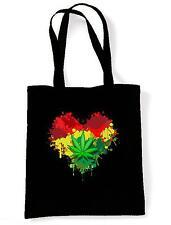 RASTA HEART TOTE / SHOULDER BAG - Reggae Bob Marley Cannabis Marijuana Jamaica
