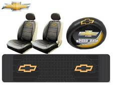 6Pc Chevrolet Chevy Elite Seat Covers & Runner Floor Mat & Steering Wheel Cover