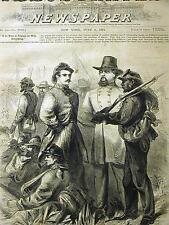 Original Black Americana NEGRO SOLDIER 1864 JOHNSON & STUART Antique Art Matted
