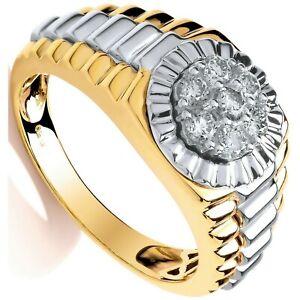 Men's Premium Diamond Ring Yellow and White Gold 0.50ct Hallmarked British Made