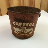 Antique Metal Red Capitol Lubricant Bucket
