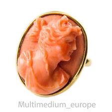 750 Koralle Gold Ring Dame geschnitzt geschnitten 18kt coral carved lady