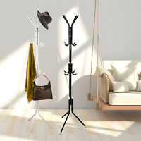 Coat Rack Hat Stand Tree Clothes Hanger Umbrella Holder 12 Hooks Metal Organizer