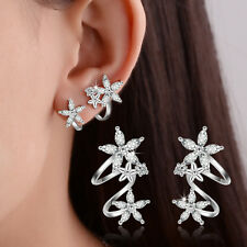 Ladies Solid 925 Sterling Silver Natural Zircon Flowers Ear Clip Cuff Earrings