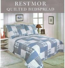 SINGLE SIZE RESTMOR REVERSIBLE PATCHWORK BLUE CHECK QUILTED BEDSPREAD THROW ONLY