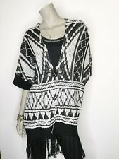 Miss Me Large Black White Cardigan Sweater Poncho Aztec Toggle Closure Tunic