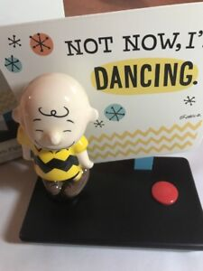 Peanuts Charlie Brown Not Now I'm Dancing Figurine with Sound Hallmark New Dance