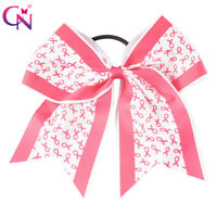 """8"""" Breast Cancer Cheer Bows With Elastic Band For Kids Girls Ribbon Hair Clips"""