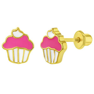 Gold Plated Pink Enamel Cupcake Screw Back Earrings for Young Girls and Teens