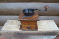 Antique Table Top Dovetailed Wood & Iron Coffee Grinder Mill with Drawer